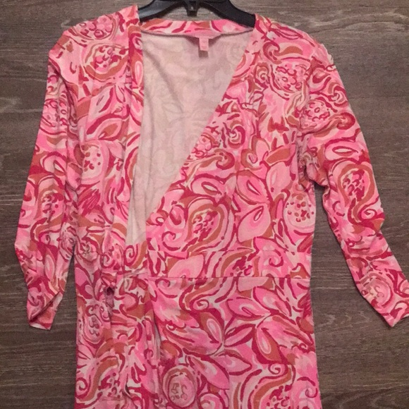 71463a11519 Lilly Pulitzer Dresses   Skirts - Lilly Pulitzer Karlie Wrap Romper Mango  Salsa